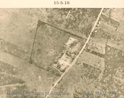 Aerial photographs of particular World War I battles and areas under bombardment.  Black and white  Print - sub item - Monument, 15-5-18]
