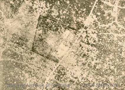 Aerial photographs of particular World War I battles and areas under bombardment.  Black and white  Print - sub item - Monument, 19-7-18]