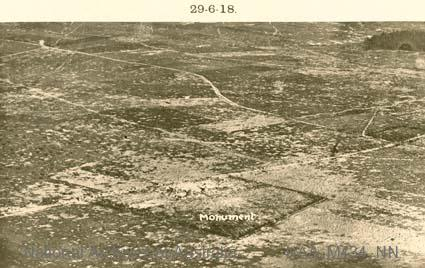 Aerial photographs of particular World War I battles and areas under bombardment.  Black and white  Print - sub item - Monument, 29-618].