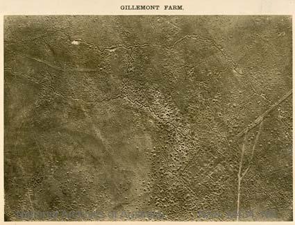 Aerial photographs of particular World War I battles and areas under bombardment.   [Black and white  Print - sub item - Gillemont Farm].
