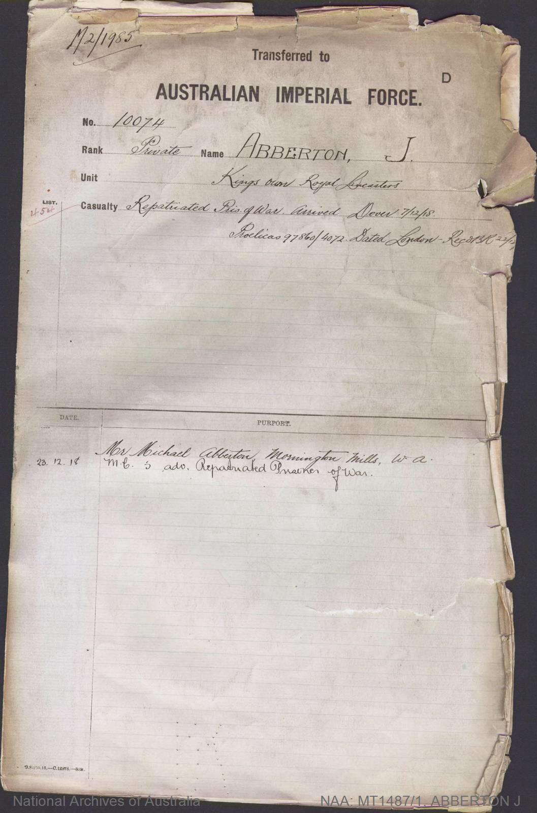 ABBERTON J (Private) - Kings own Royal Lancasters Repatriated prisoner of war