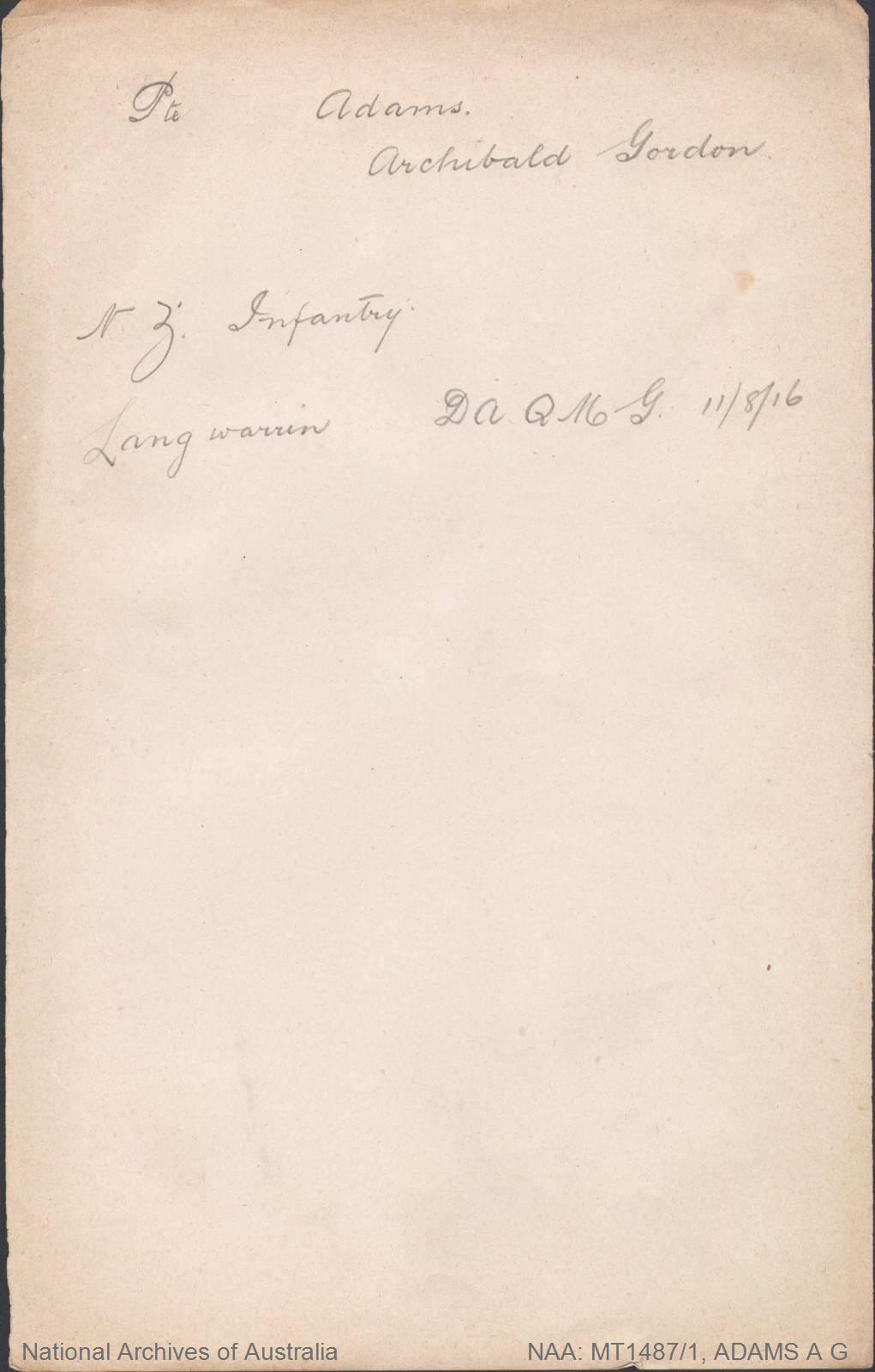 ADAMS Archibald Gordon (Pte) - NZ Infantry