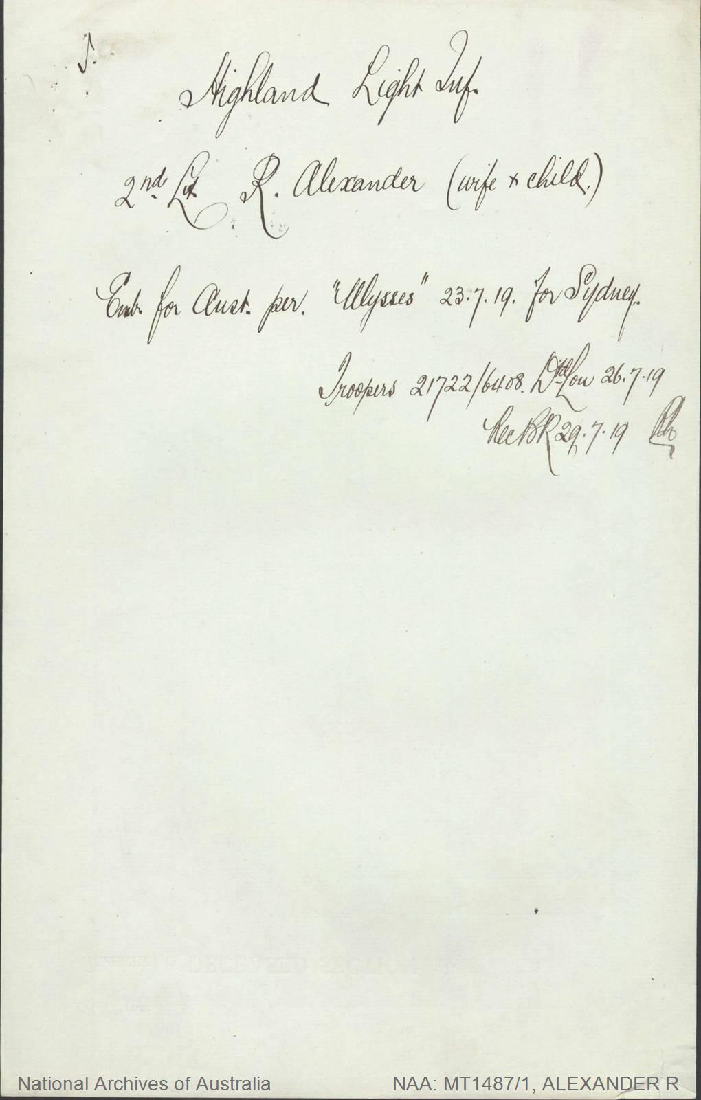 ALEXANDER R (2nd Lt) - Highland Light Infantry - embarked for Australia per Ulysses 23 July 1919
