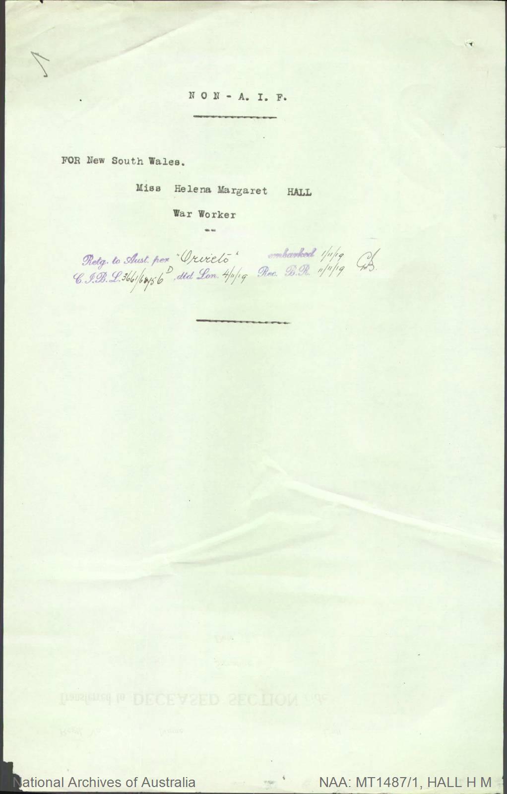 HALL Helena Margaret - War Worker - returning to Australia per Orvieto embarked 1 November 1919