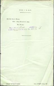 HALL Mary Elizabeth - War worker - returning to Australia per orvieto 1 November 1919