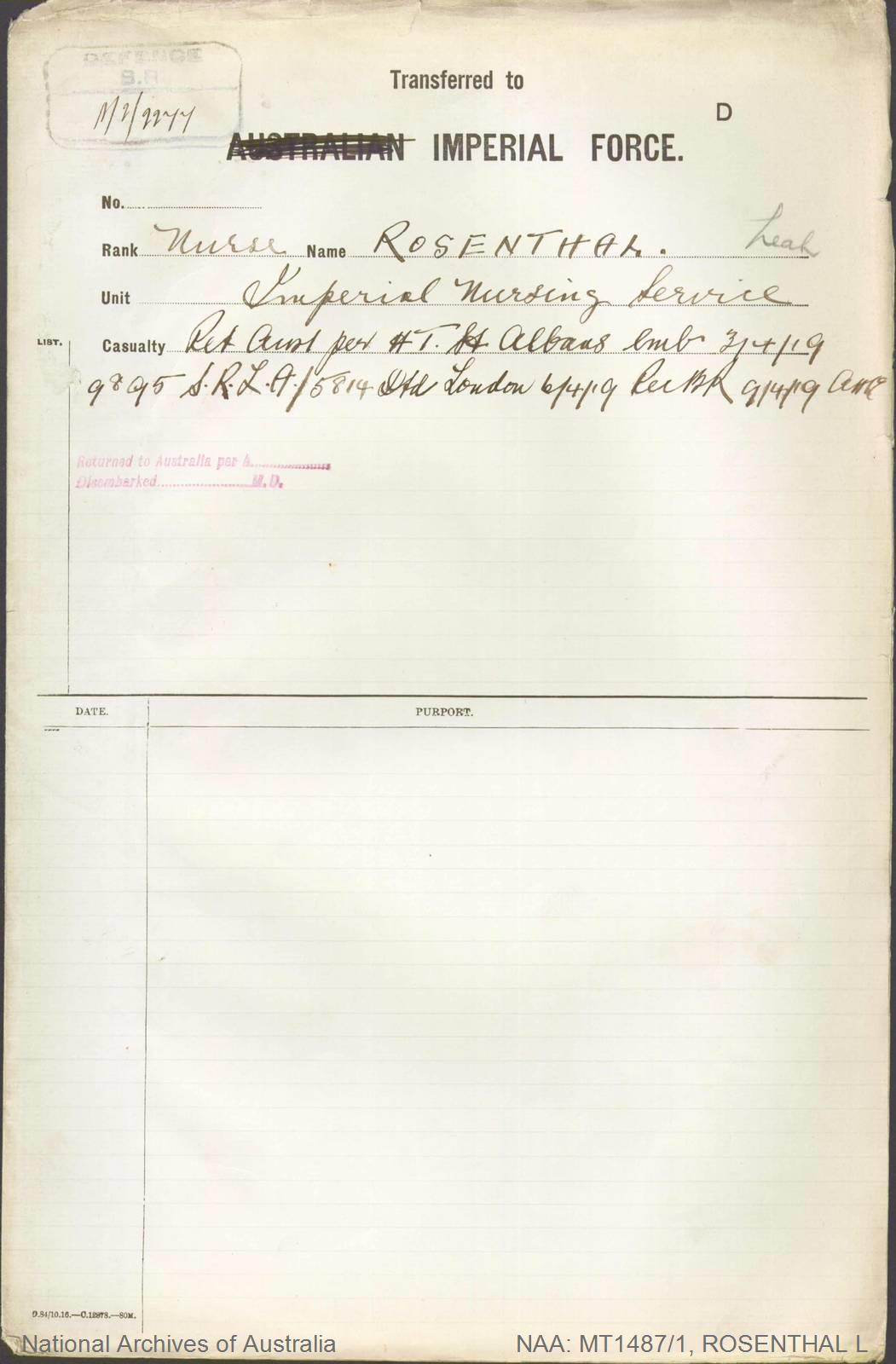 ROSENTHAL Leah - Imperial Nursing Service - returned to Australia per St Albans 3 April 1919