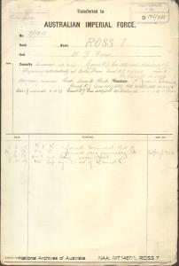 ROSS T - New Zealand Forces - wounded 19 April 1917 - dangerously wounded head - admitted to hospital 6 November 1917 - died of wounds 8 November 1917