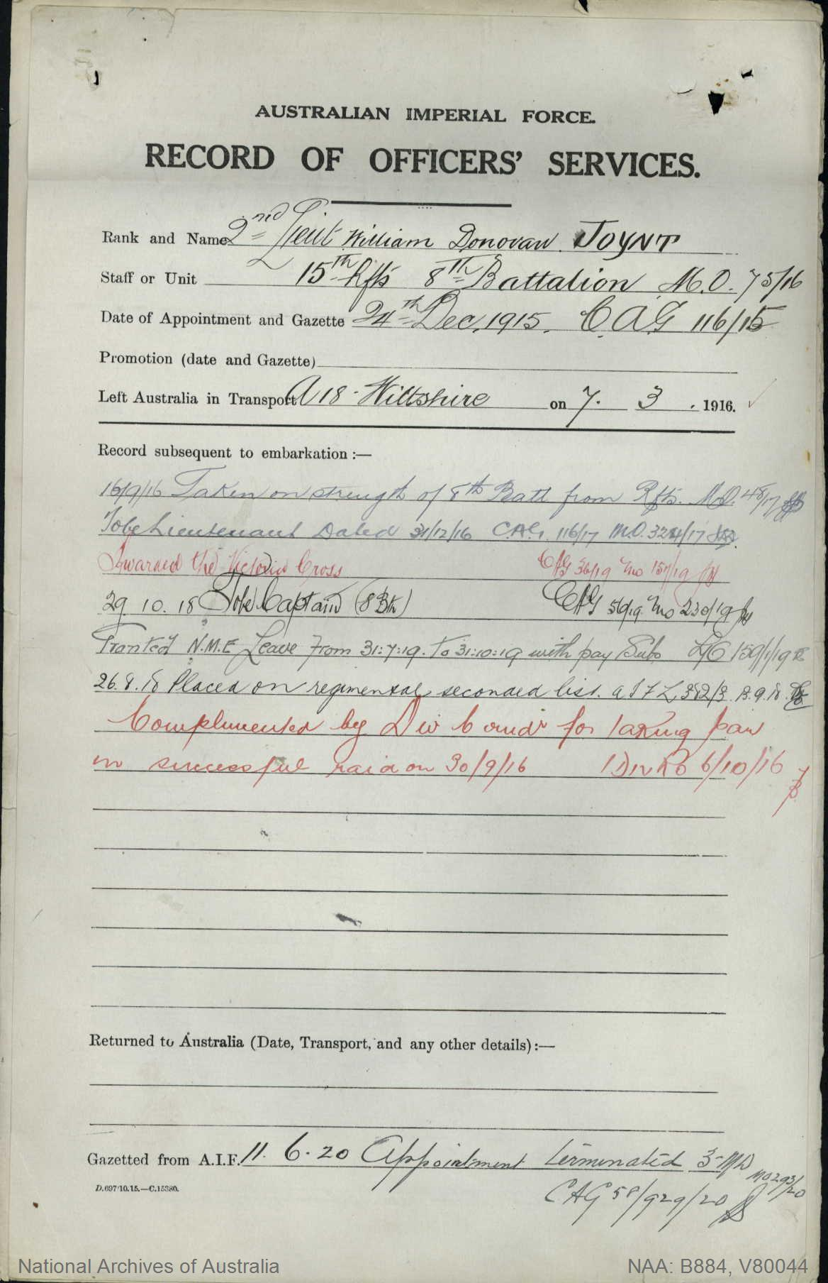 JOYNT WILLIAM DONOVAN : Service Number - V80044 : Date of birth - 19 Mar 1889 : Place of birth - ELSTERNWICK VIC : Place of enlistment - SOUTH MELBOURNE VIC : Next of Kin - JOYNT EDITH