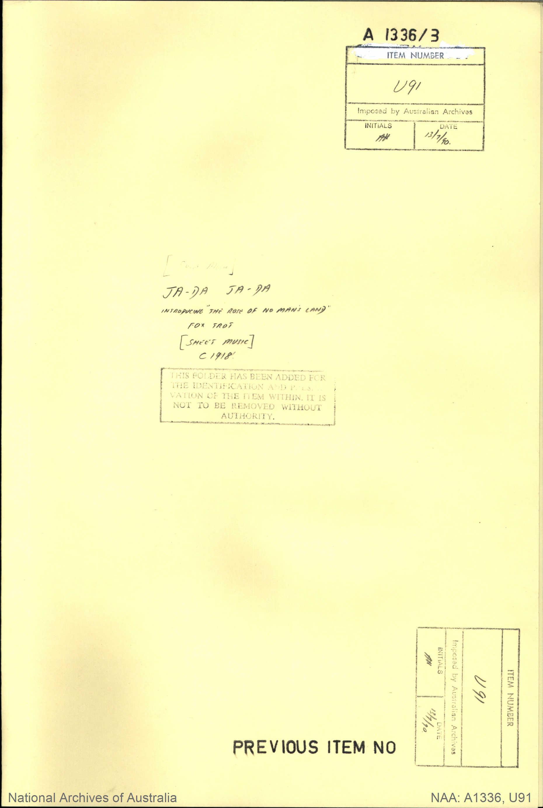 """Ja-Da Ja-Da Introducing """"The Rose of No Man's Land"""" Fox Trot [Sheet Music]"""