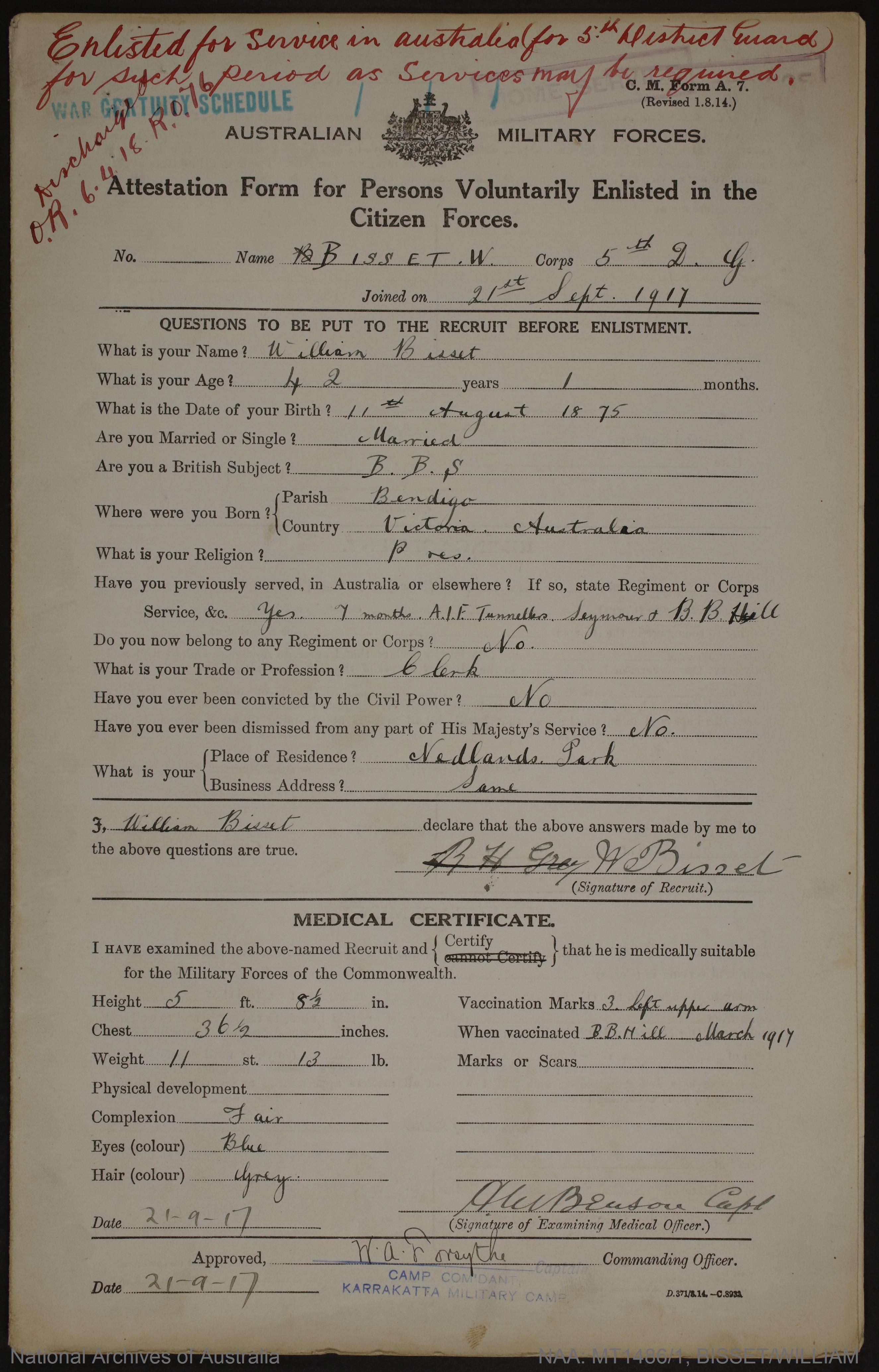 Bisset, William; born 1875, Bendigo
