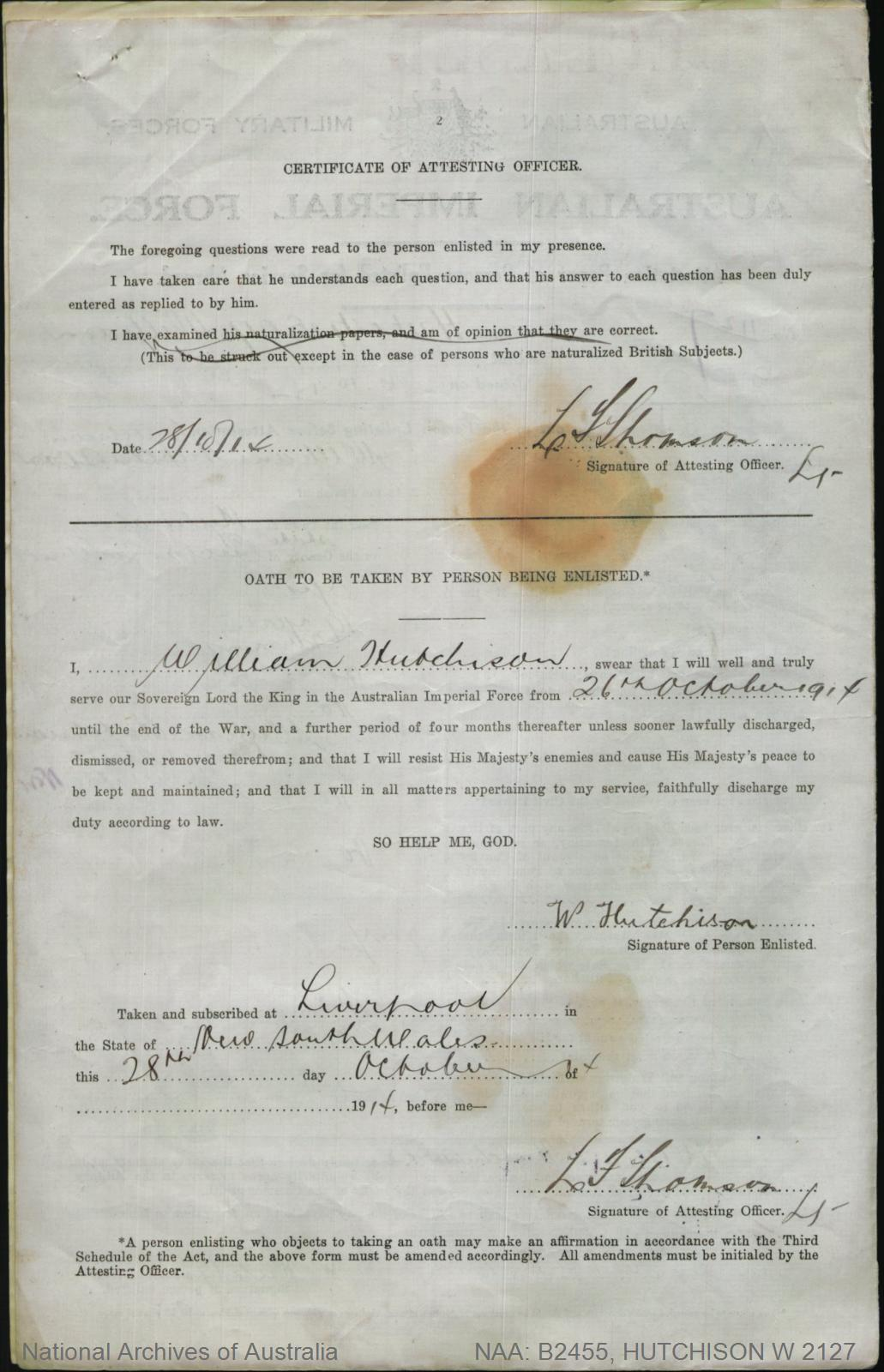 HUTCHISON William : Service Number - 2127 : Place of Birth - Mulwala Vic : Place of Enlistment - Liverpool NSW : Next of Kin - (Father) HUTCHISON William