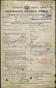 HOWARD Thomas : Service Number - 3668 : Place of Birth - Kempton Tas : Place of Enlistment - Claremont Tas : Next of Kin - (Mother) LAVERS Mary Ann