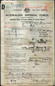 HUMPHREYS Thomas Owen : Service Number - 910 : Place of Birth - Liverpool England : Place of Enlistment - Liverpool NSW : Next of Kin - (Father) HUMPHREYS Owen