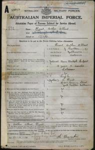 HUNT Arthur Albert : Service Number - 872 : Place of Birth - Melbourne Vic : Place of Enlistment - Melbourne Vic : Next of Kin - (Mother) HUNT L