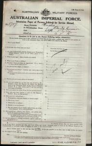 HUGHES Ronald Emerson : Service Number - 1717 : Place of Birth - Deloraine Tas : Place of Enlistment - Sydney NSW : Next of Kin - (Father) HUGHES James Emerson