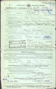 JAMES John Alexander : Service Number - Lieutenant Colonel : Place of Birth - N/A : Place of Enlistment - N/A : Next of Kin - (Father) JAMES C E