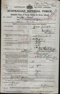 JOSE Joseph : Service Number - 1045 : Place of Birth - Carlton VIC : Place of Enlistment - Melbourne VIC : Next of Kin - (Mother) JOSE A