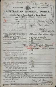 HYMAN Oscar Henric : Service Number - 10 : Place of Birth - N/A : Place of Enlistment - Melbourne VIC : Next of Kin - (Wife)  HYMAN Henrietta