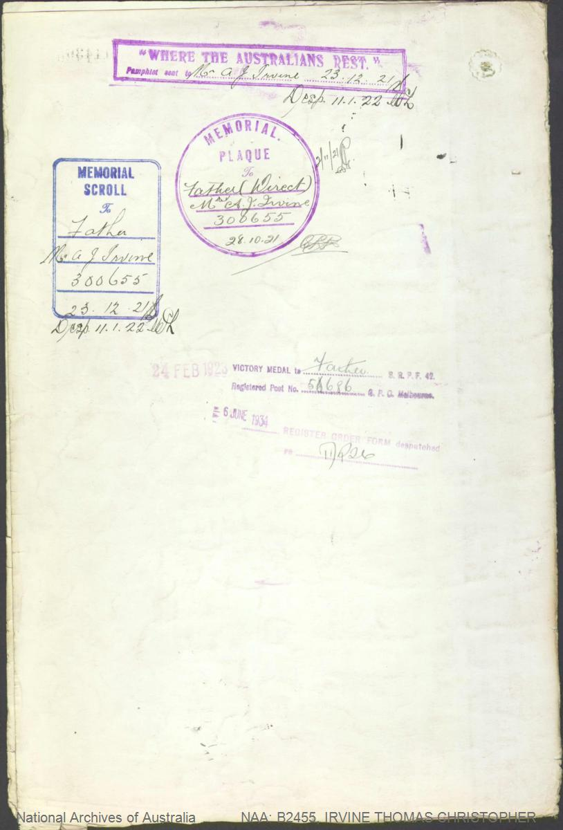 IRVINE Thomas Christopher : Service Number - 5129 : Place of Birth - Kiama NSW : Place of Enlistment - Nowra NSW : Next of Kin - (Father) IRVINE Alfred John