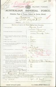 JERRETT Reginald : Service Number - 4 : Place of Birth - Portland VIC : Place of Enlistment - Pontville TAS : Next of Kin - (Father) JERRETT William John