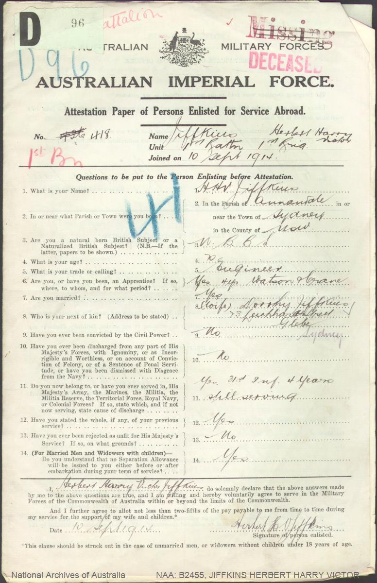 JIFFKINS Herbert Harry Victor : Service Number - 418 : Place of Birth - Sydney NSW : Place of Enlistment - Sydney NSW : Next of Kin - (Wife) JIFFKINS Dorothy