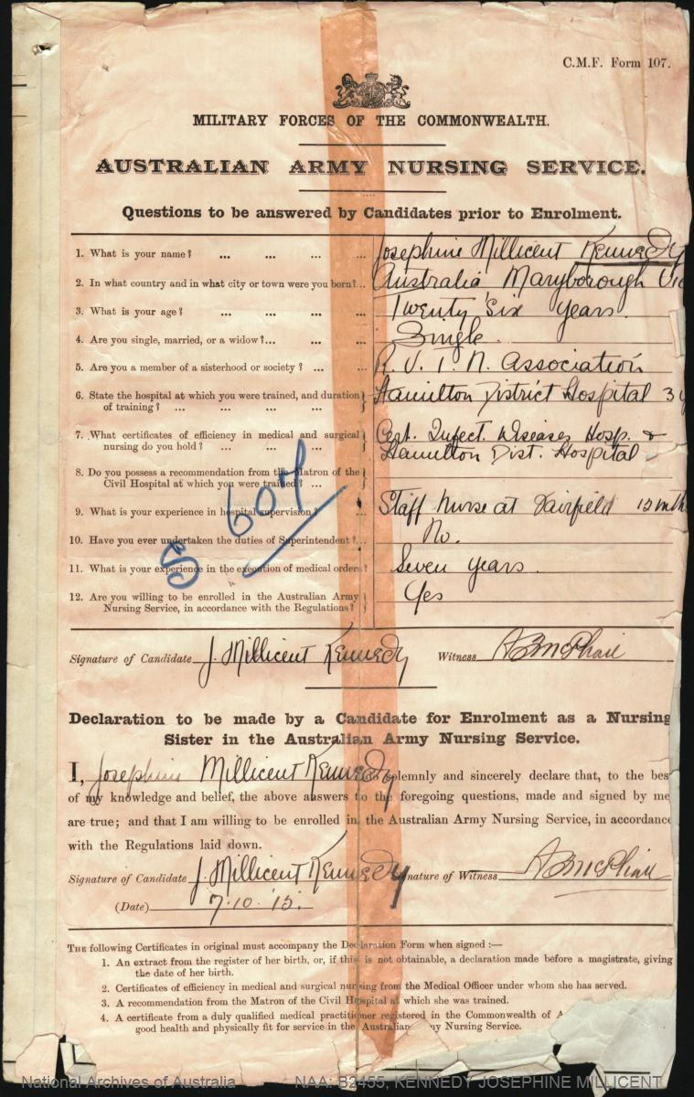 KENNEDY Josephine Millicent : Service Number - Sister : Place of Birth - N/A  : Place of Enlistment - N/A  : Next of Kin - (N/A) KENNEDY Mr J P