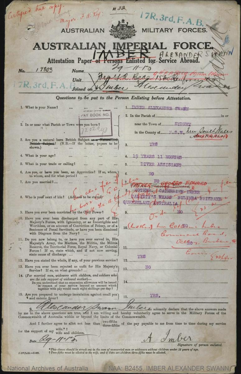 IMBER Alexander Swann : Service Number - 17303 : Place of Birth - Sydney NSW : Place of Enlistment - Brisbane QLD : Next of Kin - (Father) IMBER George Edward