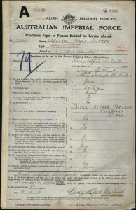 IRELAND Percy Alfred : Service Number - 2084 : Place of Birth - Bathurst NSW : Place of Enlistment - Cairns QLD : Next of Kin - (Father) IRELAND Alfred