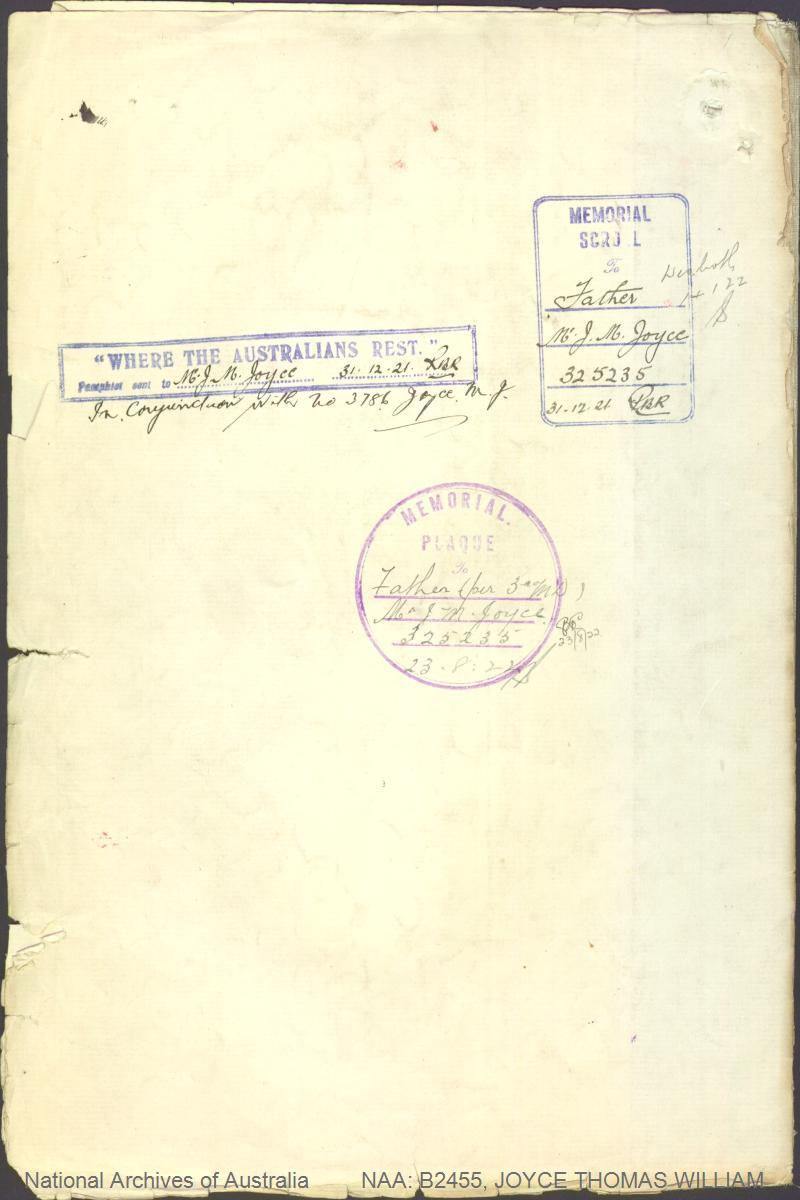 JOYCE Thomas William : Service Number - 4128 : Place of Birth - Branscholme VIC : Place of Enlistment - Melbourne VIC : Next of Kin - (Father) JOYCE John Mark