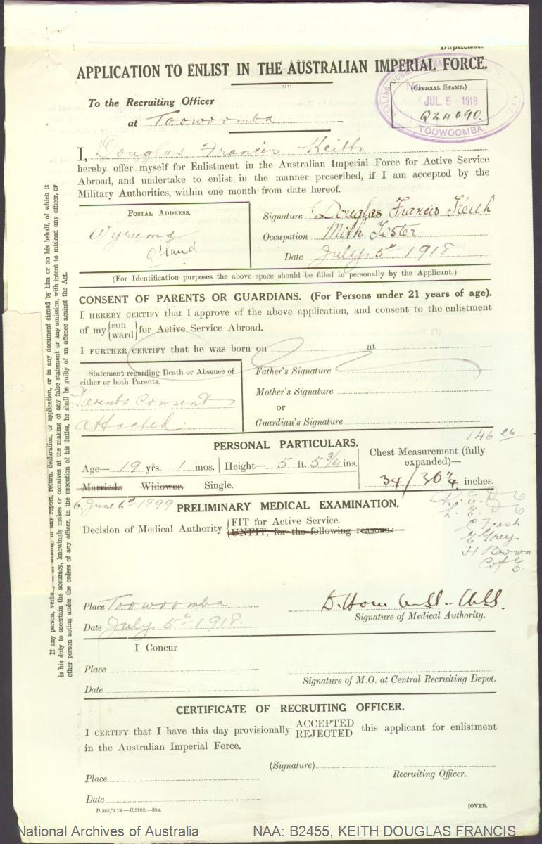 KEITH Douglas Francis : Service Number - 58357 : Place of Birth - Brisbane QLD : Place of Enlistment - Toowoomba QLD : Next of Kin - (Father) KEITH Frank Vernon