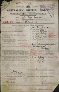JOB Percy Frederick : Service Number - 316 : Place of Birth - Melbourne VIC : Place of Enlistment - Perth WA : Next of Kin - (Wife) JOB Clarice