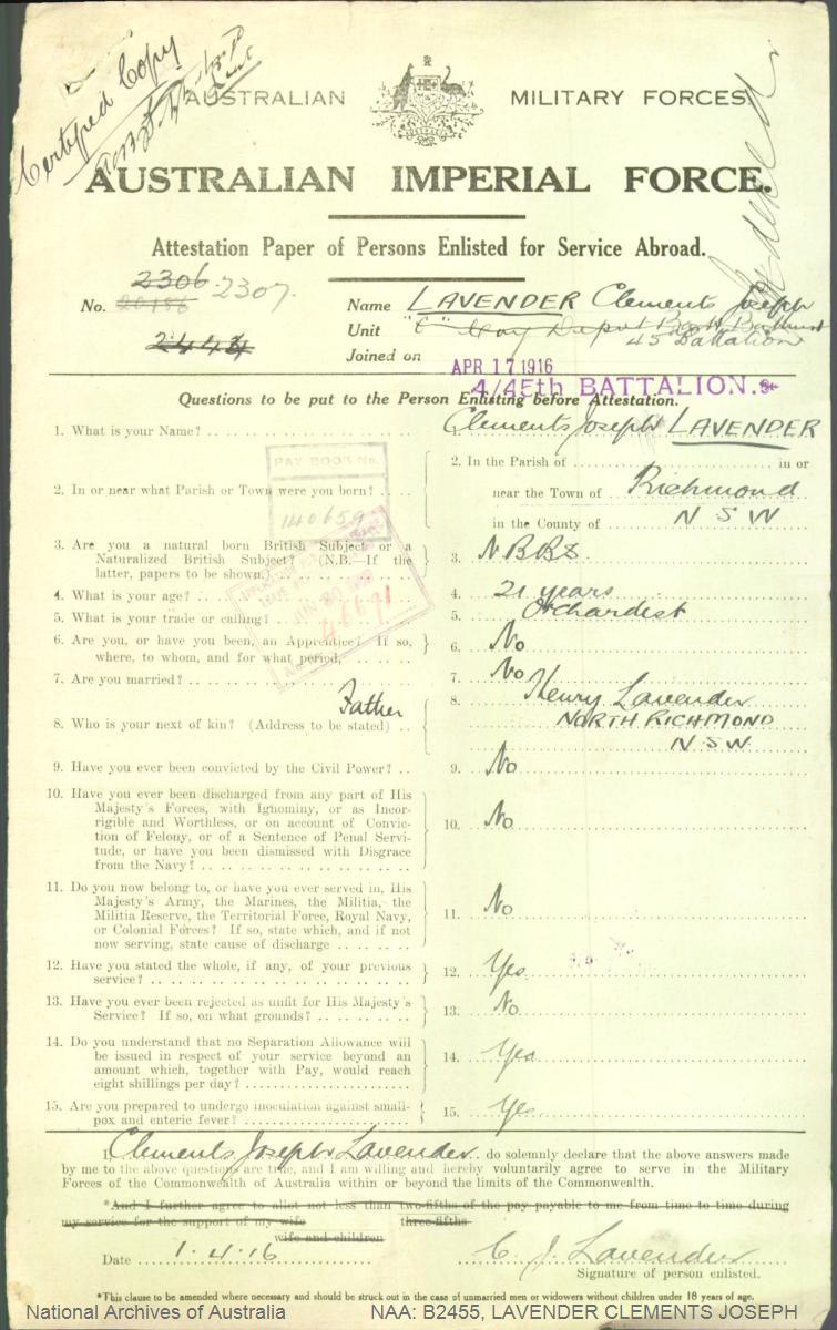 LAVENDER Clements Joseph : Service Number - 2307 : Place of Birth - Richmond NSW : Place of Enlistment - Wilberforce NSW : Next of Kin - (Father) LAVENDER Henry