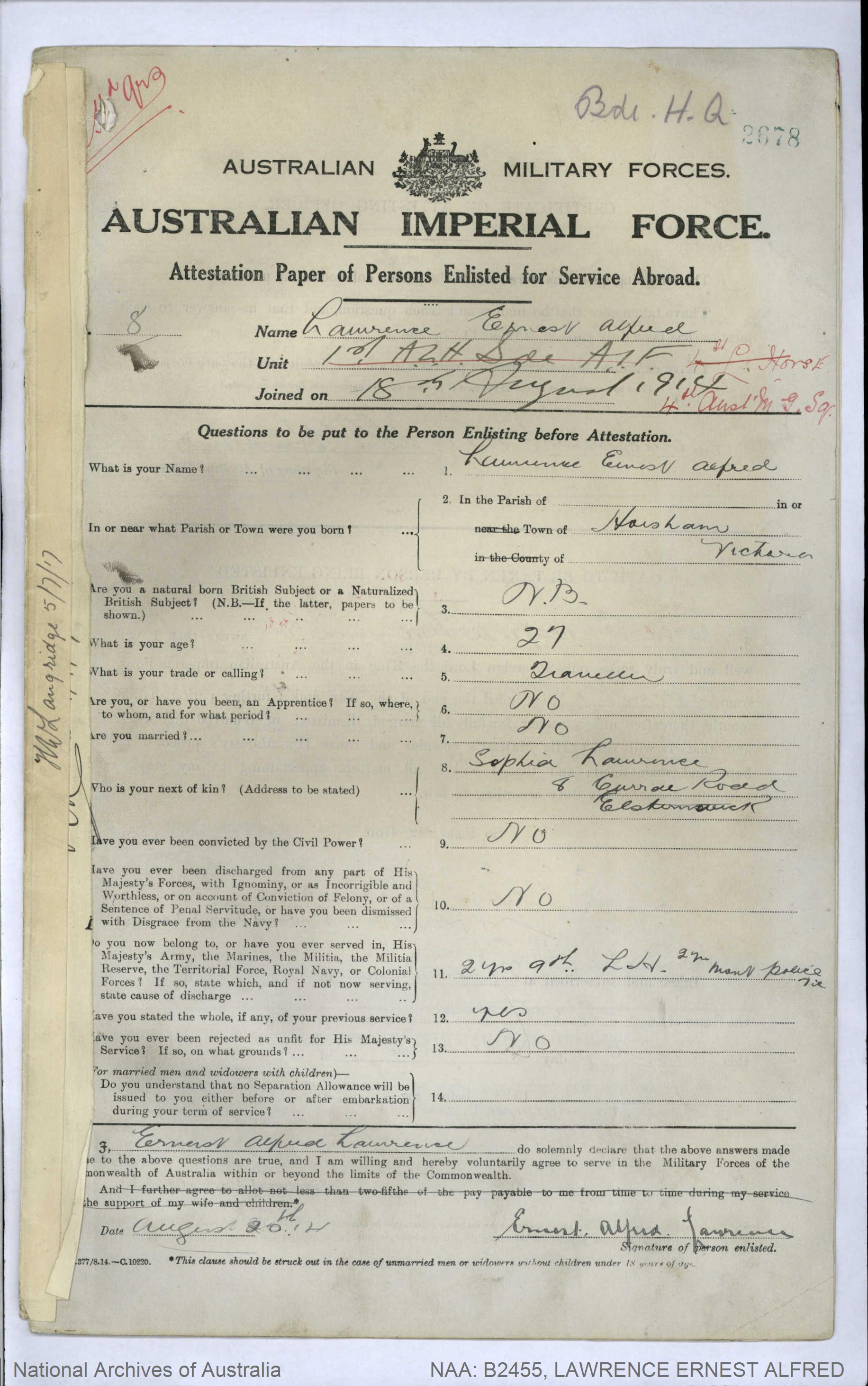 LAWRENCE Ernest Alfred : Service Number - 8 : Place of Birth - Horsham VIC : Place of Enlistment - Broadmeadows VIC : Next of Kin - (N/A) LAWRENCE Sophia