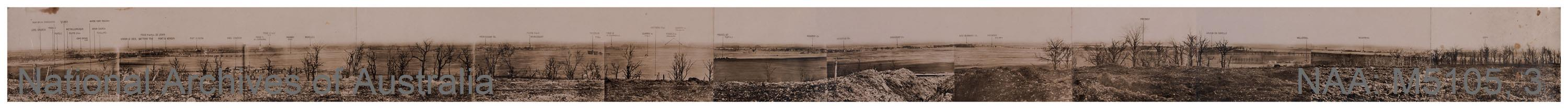 Records of Major Richard Victor Morse DSO (Distinguished Service Order) - Photograph of dam and surrounding area, 11 December 1923 [WW1 panorama view in 13 assembled images, covering from L to R the country from Lens to Oppy ]