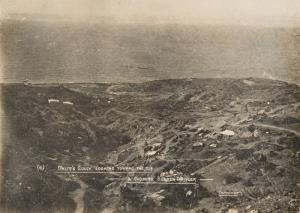 """With the Camera at Anzac"" - White's Gully looking toward the sea  - & showing sunken trawler"