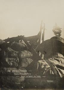 """With the Camera at Anzac"" - A.N.Z.A.C trenches - Firing a periscope rifle - kaiser as target for turks"