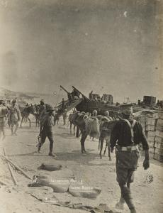 """With the Camera at Anzac"" - Unloading mules - Anzac beach"