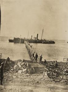 """With the Camera at Anzac"" - Taken 17.12.1915 Shewing sunken ""Milo"" from which majority of troops were evacuated"