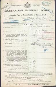 MITCHELL Leslie James : Service Number - 3843 : Place of Birth - Fitzroy VIC : Place of Enlistment - Holdsworthy (Holsworthy) NSW : Next of Kin - (Wife) MITCHELL Estelle Violet