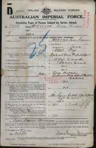 MORIESON Ivan Francis : Service Number - 2954 : Place of Birth - Suva Fiji : Place of Enlistment - Melbourne VIC : Next of Kin - (Father) MORIESON George