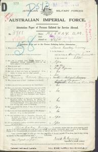 MURRAY David Macleay : Service Number - 3788 : Place of Birth - Newcastle NSW : Place of Enlistment - Holdsworthy (Holsworthy) NSW : Next of Kin - (Father) MURRAY William Patrick