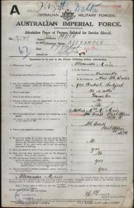 MUIR Alexander : Service Number - 2858 : Place of Birth - Newcastle NSW : Place of Enlistment - Kalgoorlie WA : Next of Kin - (Mother) MUIR Margaret