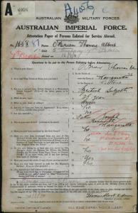 O'BRIEN Thomas Albert : Service Number - 1003 : Place of Birth - Wangaratta VIC : Place of Enlistment - Melbourne VIC : Next of Kin - (Wife) O'BRIEN C