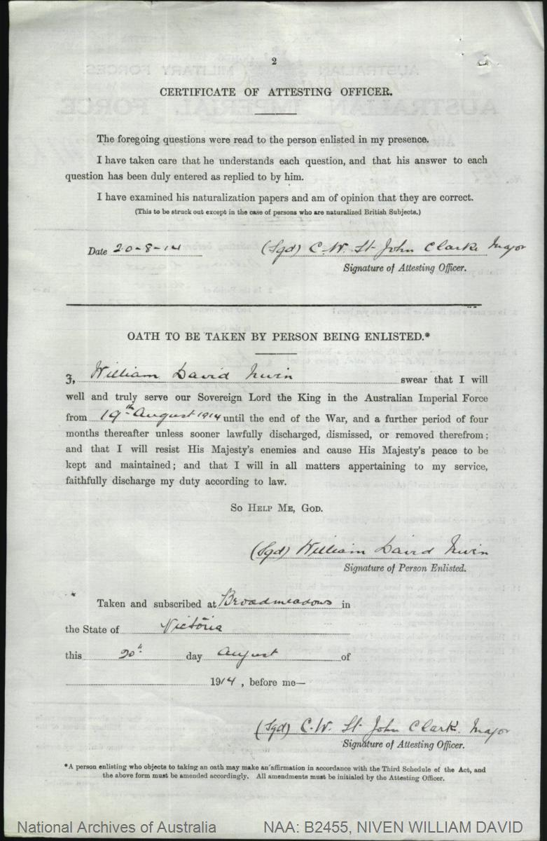 NIVEN William David : Service Number - 162 : Place of Birth - Harrow VIC : Place of Enlistment - Broadmeadows VIC : Next of Kin - (Father) NIVEN William