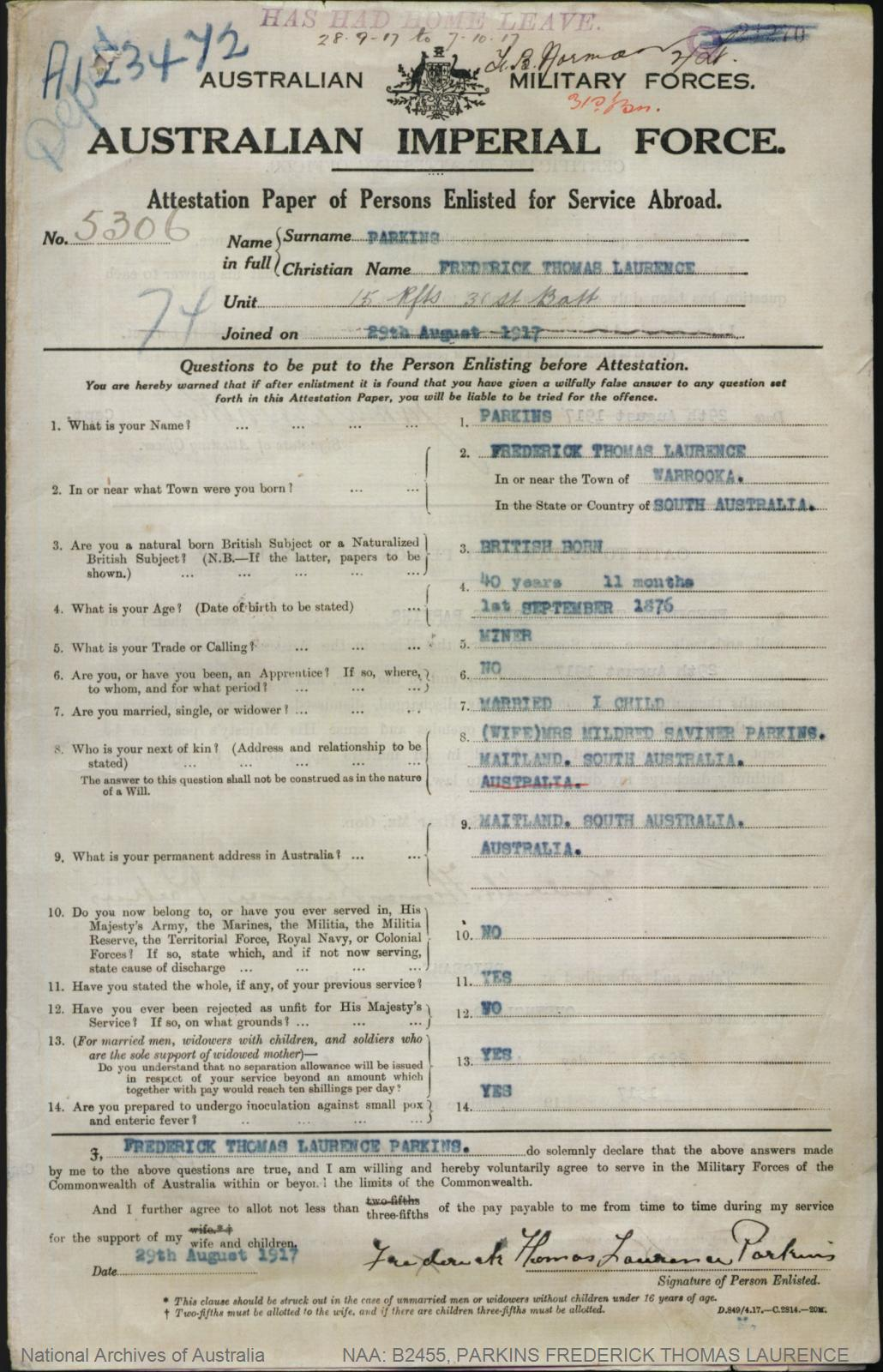 PARKINS Frederick Thomas Laurence : Service Number - 5306 : Place of Birth - Warooka SA : Place of Enlistment - Brisbane QLD : Next of Kin - (Wife) PARKINS Mildred Saviner