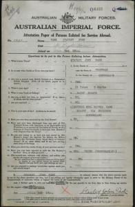 PASK Stanley John : Service Number - 1899 : Place of Birth - Fernvale QLD : Place of Enlistment - Brisbane QLD : Next of Kin - (Mother) PASK Martha