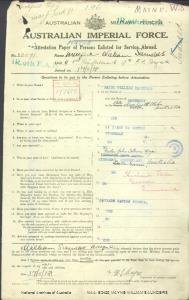 MAYNE William Saunders : Service Number - 23071 : Place of Birth - Rothbury NSW : Place of Enlistment - Brisbane QLD : Next of Kin - (Father) MAYNE John Colburn