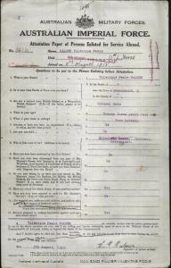 PALMER Valentine Poole : Service Number - 1214 : Place of Birth - Greenmount QLD : Place of Enlistment - Toowoomba QLD : Next of Kin - (Mother) BARKS Elizabeth
