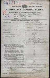 PARSONS Eric Vivian : Service Number - 1721 : Place of Birth - Latrobe VIC : Place of Enlistment - Melbourne VIC : Next of Kin - (Mother) PARSONS Annie