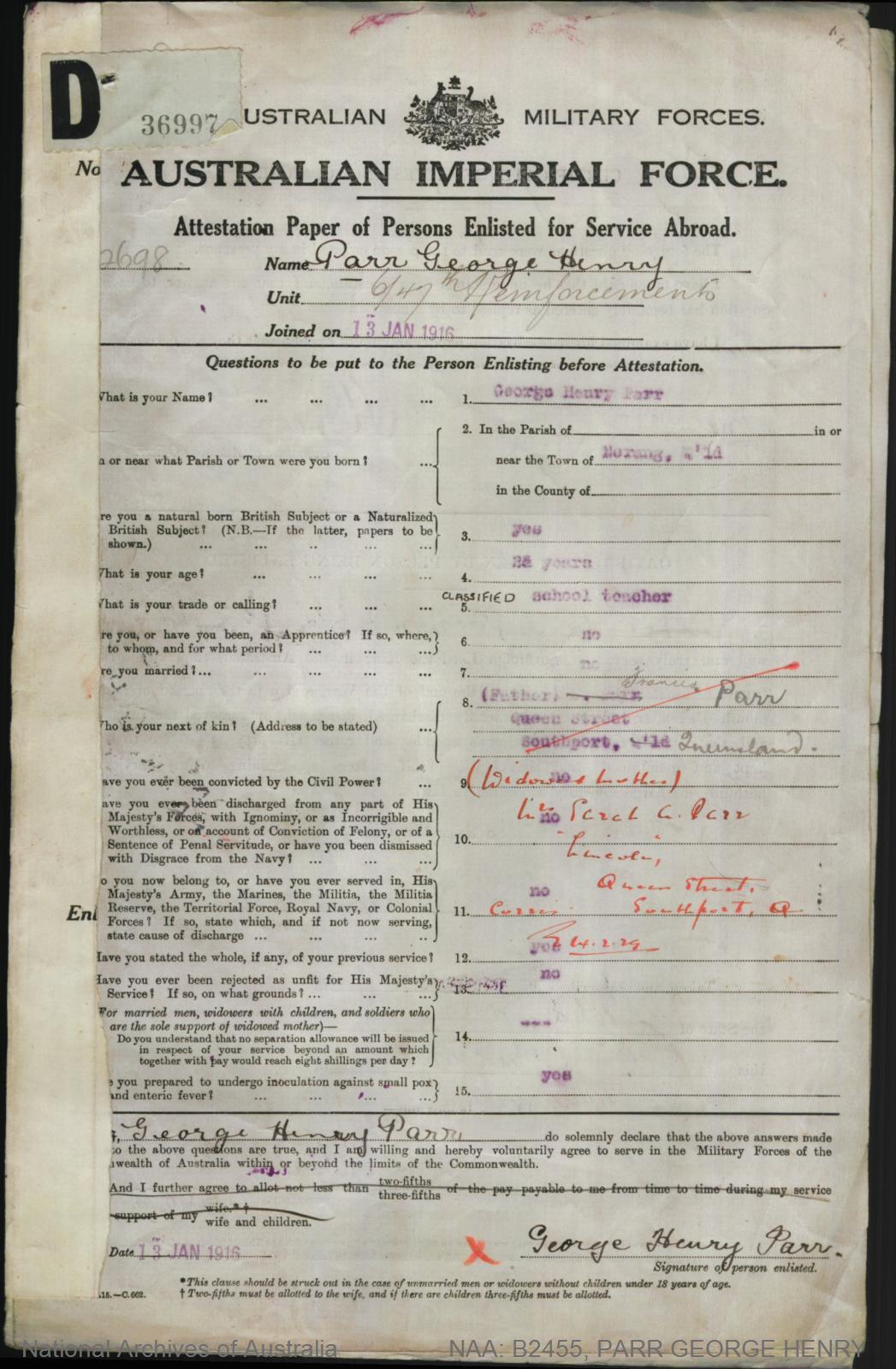 PARR George Henry : Service Number - 2698 : Place of Birth - Nerang QLD : Place of Enlistment - Brisbane QLD : Next of Kin - (Mother) PARR Sarah
